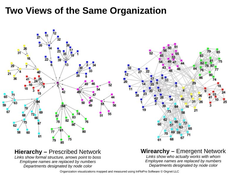 Hierarchy v Wirearchy graphic